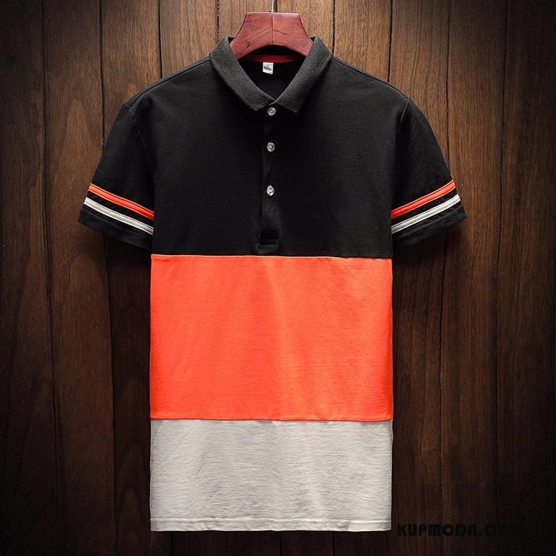 Koszulka Polo Męskie Męska Butik Slim Fit Nowy Krótkie Moda Pomarańczowy