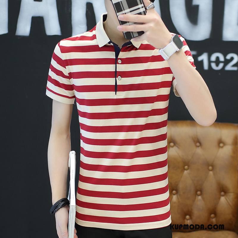 Koszulka Polo Męskie Męska W Paski Bawełniane Klapa Casual Slim Fit Czerwony