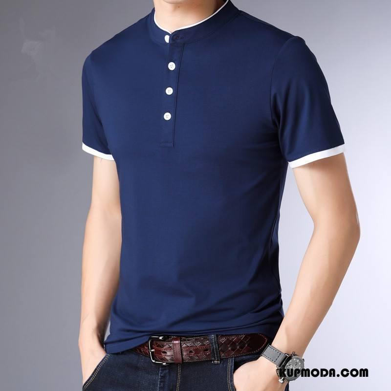 Koszulka Polo Męskie Młodzież Casual Męska Krótki Rękaw Proste Wysoki Kołnierz Czysta Niebieski