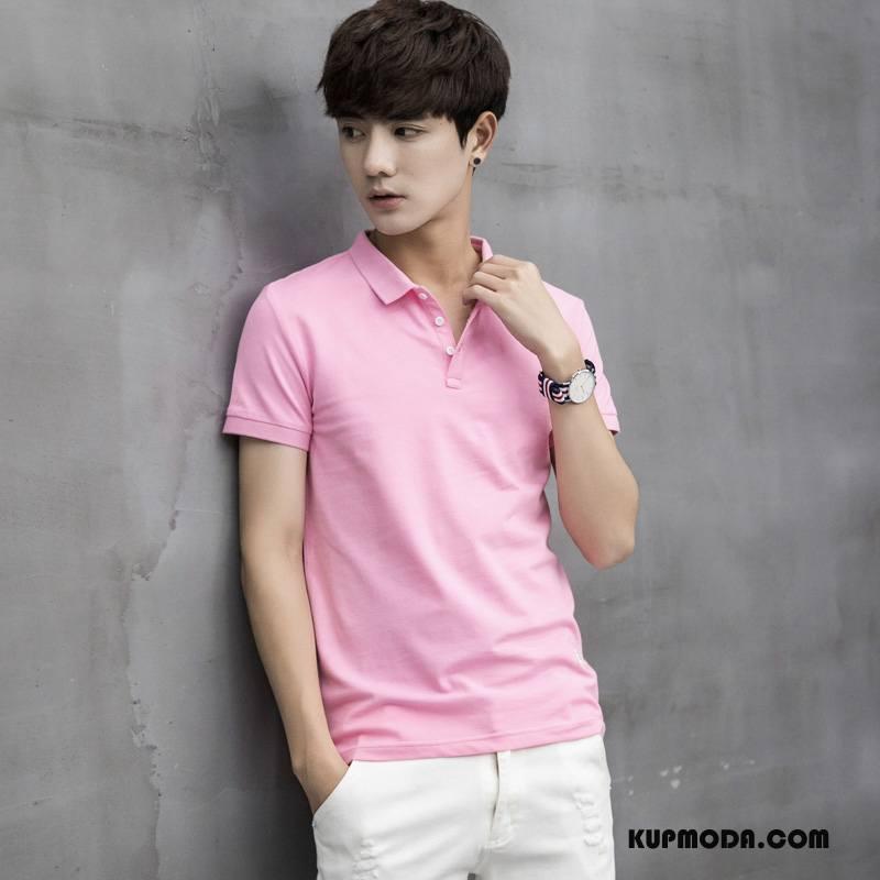 Koszulka Polo Męskie Moda Klapa Casual Czysta Różowy
