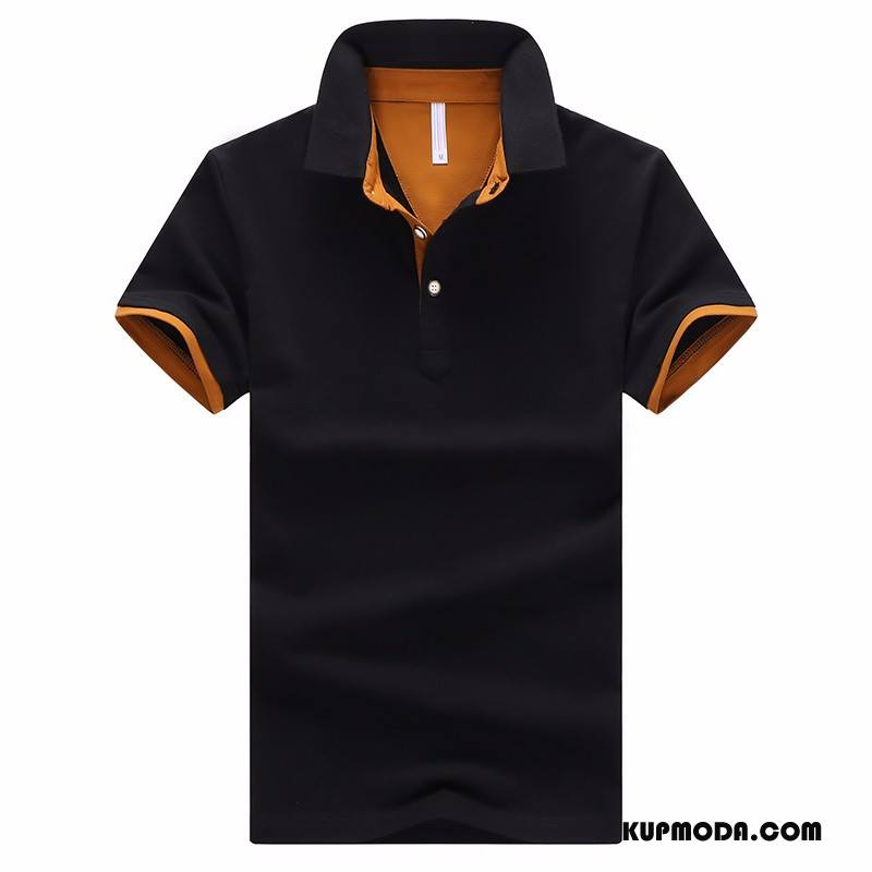 Koszulka Polo Męskie Nowy Topy Krótki Rękaw T-shirt Lato Klapa Czarny
