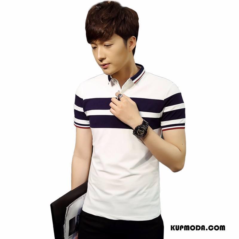 Koszulka Polo Męskie Proste Slim Fit Krótki Rękaw Biały