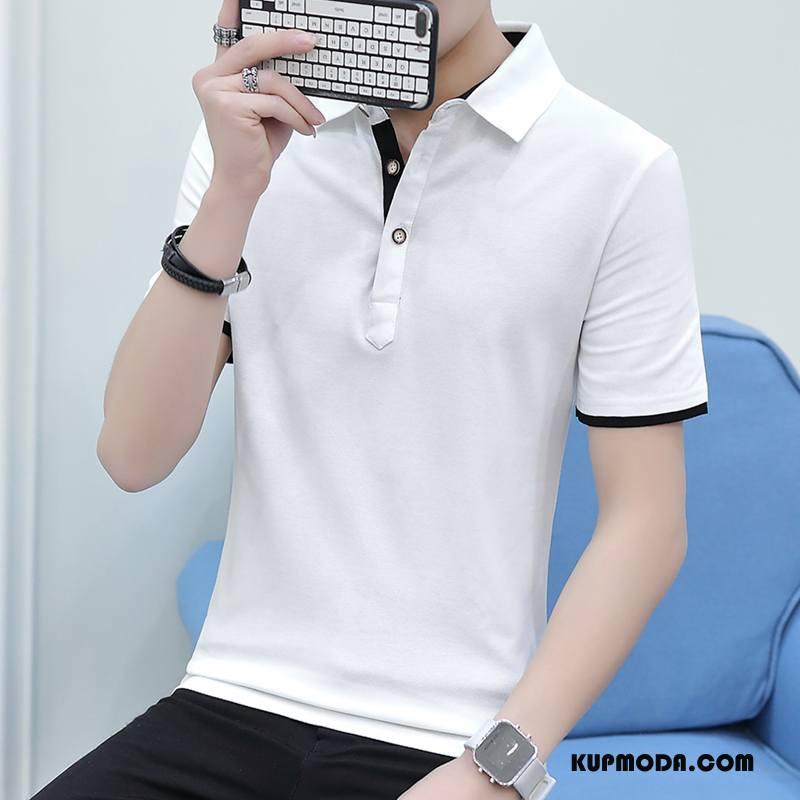 Koszulka Polo Męskie Slim Fit Bawełna Lato Krótki Rękaw Młodzież Męska Biały