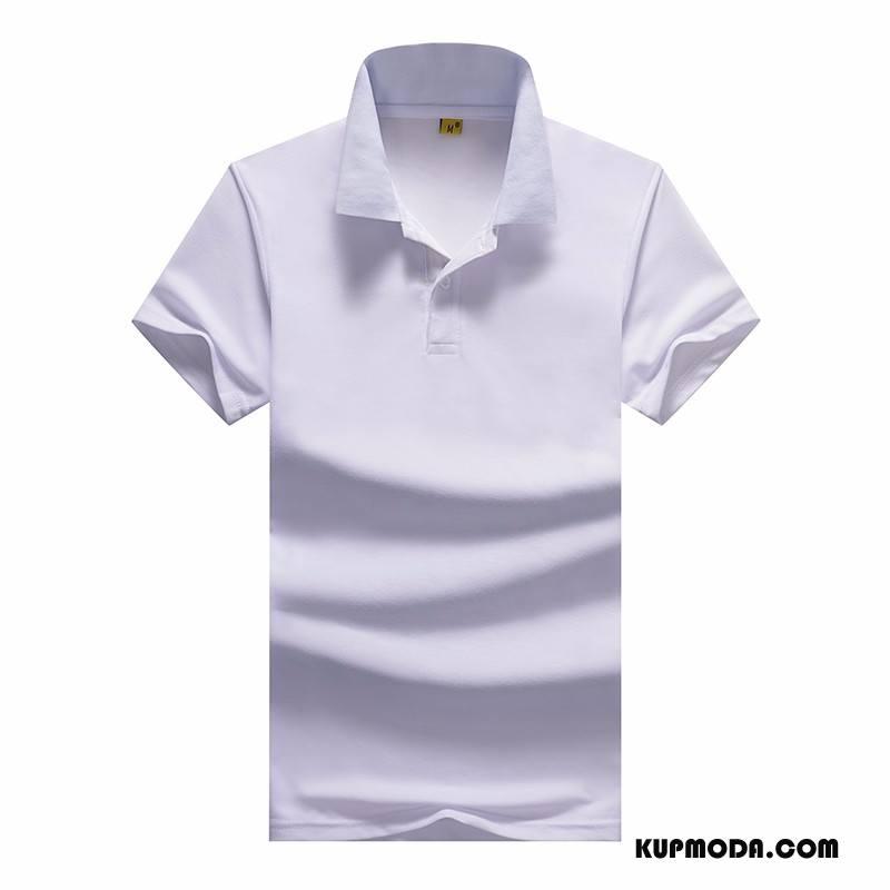 Koszulka Polo Męskie Tendencja Lato Nowy 2018 Klapa Krótki Rękaw Biały