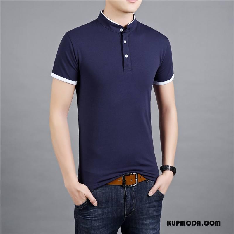 Koszulka Polo Męskie Tendencja Miasto Slim Fit Ciemno Niebieski