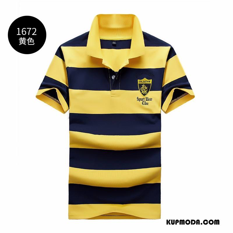 Koszulka Polo Męskie W Paski Szerokie Klapa T-shirt Lato Męska Żółty