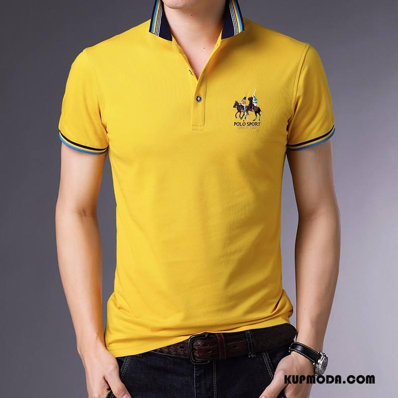 Koszulka Polo Męskie Zakochani Slim Fit Modna Marka Z Haftem Krótki Rękaw Vintage Żółty