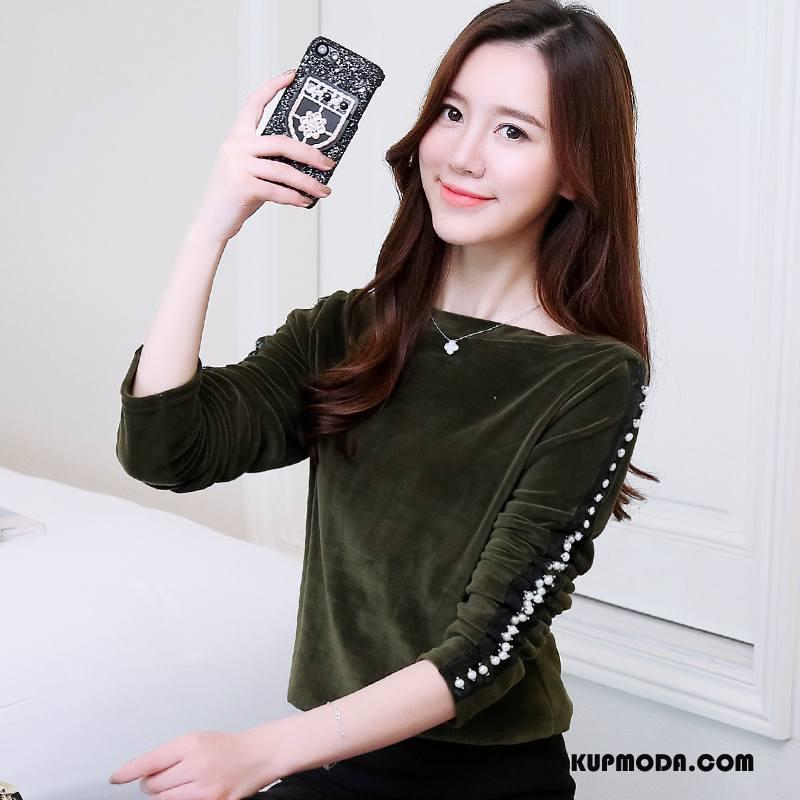 Koszulki Damskie Casual Młodzieżowa Moda Cienkie Jesień Pullover Zielony