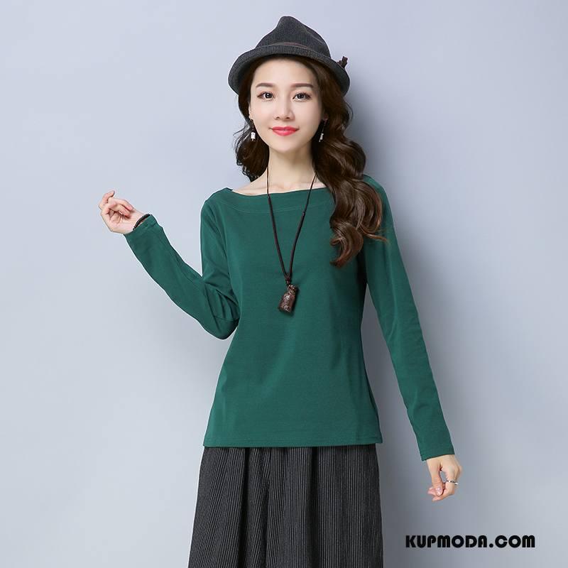 Koszulki Damskie Cienkie Eleganckie Moda Tendencja Młodzieżowa Slim Fit Czysta Zielony