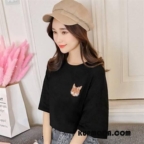 Koszulki Damskie Cienkie Kreatywne Wzór Zwierzę Drukowana Krótki Rękaw Czarny