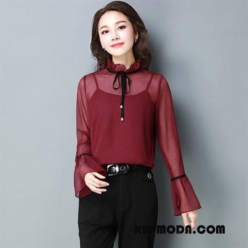Koszulki Damskie Długi Rękaw Moda Długie Wiosna Pullover Proste Bordeaux Czysta