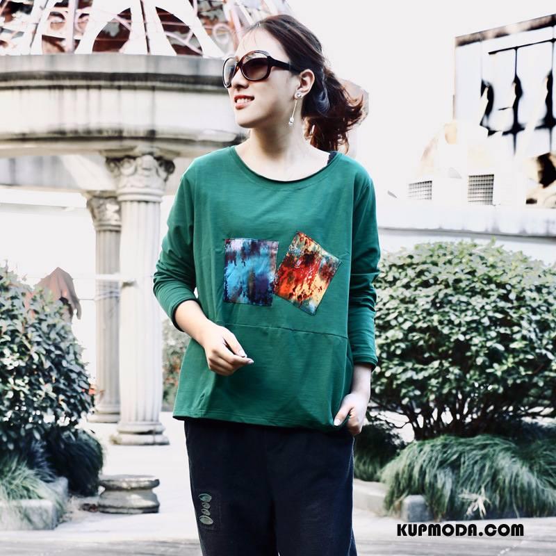 Koszulki Damskie Długi Rękaw Szerokie 2018 Eleganckie Proste Moda Mieszane Kolory Zielony