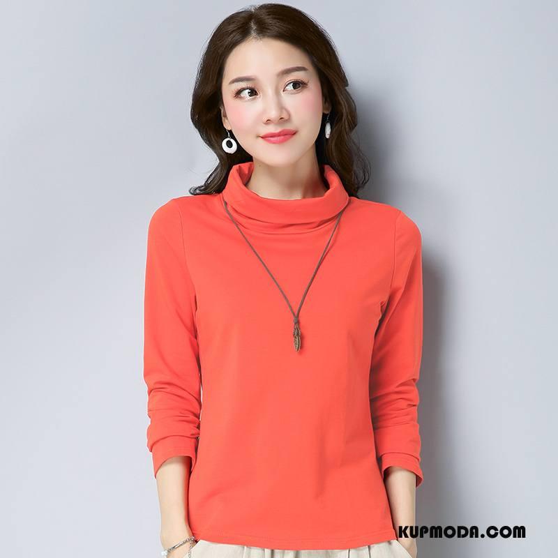 Koszulki Damskie Długi Rękaw Wiosna 2018 Szerokie Moda Tendencja Czysta Oranż