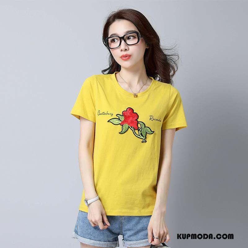 Koszulki Damskie Drukowana Krótki Rękaw Proste Lato Wzór 2018 Róża Żółty