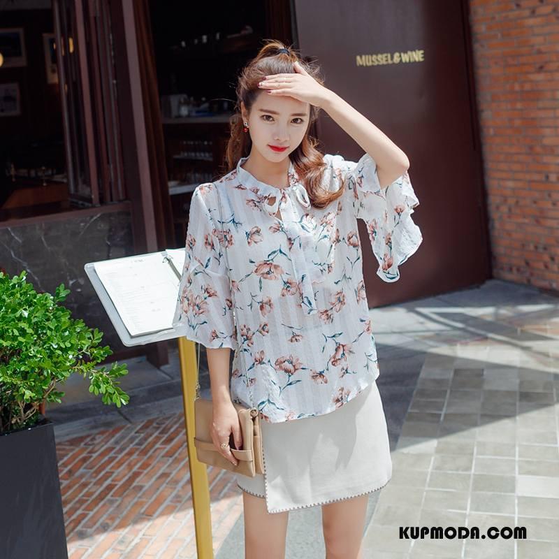 Koszulki Damskie Drukowana Swag Pullover Moda Flare Cienkie Biały