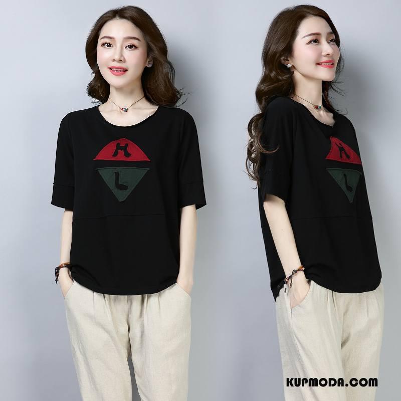 Koszulki Damskie Eleganckie Okrągły Dekolt Piękny Krótki Rękaw Cienkie Pullover Czarny
