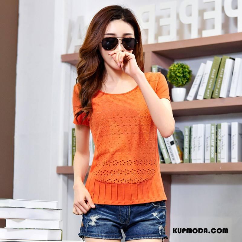 Koszulki Damskie Krótki Rękaw Szycie Pullover Cienkie Wiosna Koronka Czysta Oranż