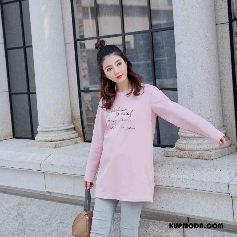 3f72bde0b3 Koszulki Damskie Słodkie Szerokie Wiosna Moda Eleganckie Długi Rękaw Czysta  Różowy