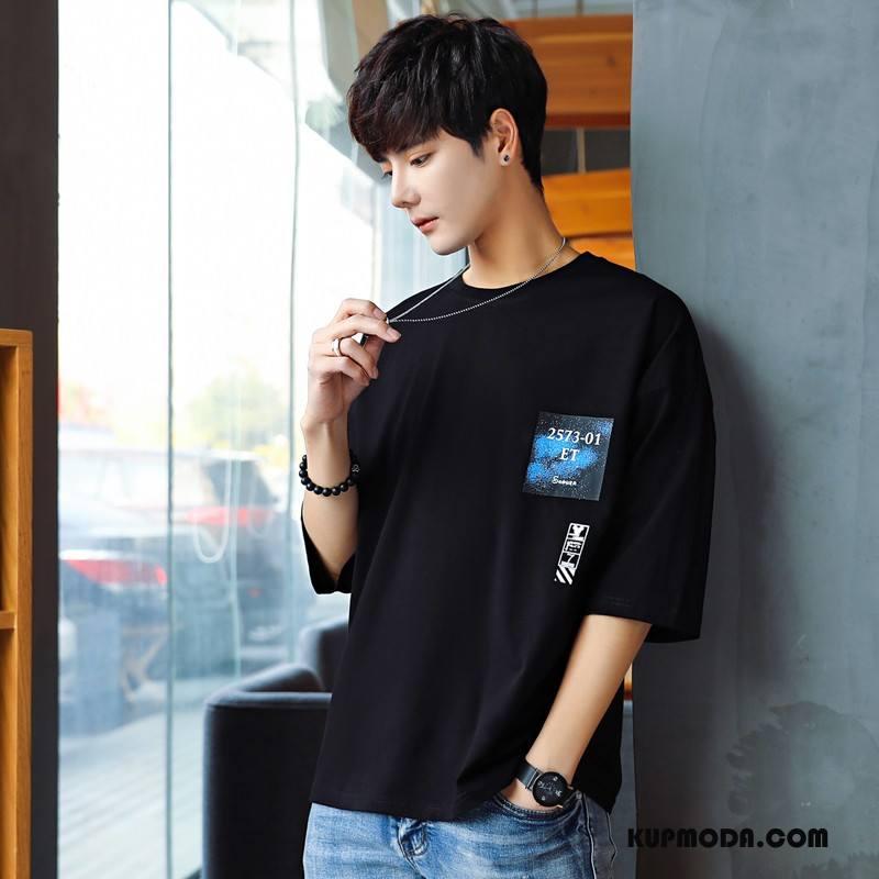 Koszulki Męskie Casual Tendencja Moda Młodzież Lato Męska Czarny