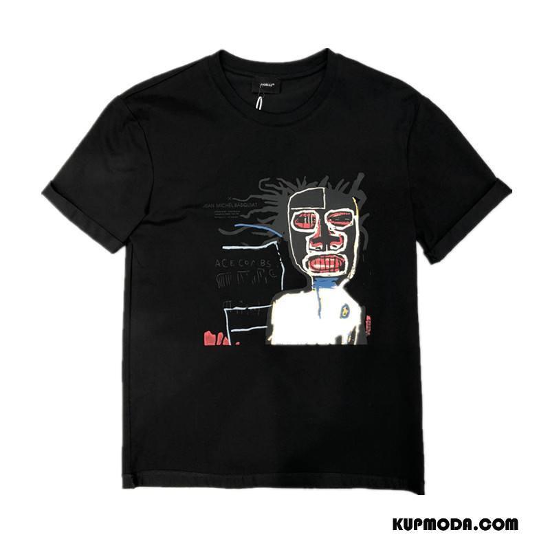 Koszulki Męskie Krótki Rękaw Kreskówka Nowy Moda Wygodne Okrągły Dekolt Czarny