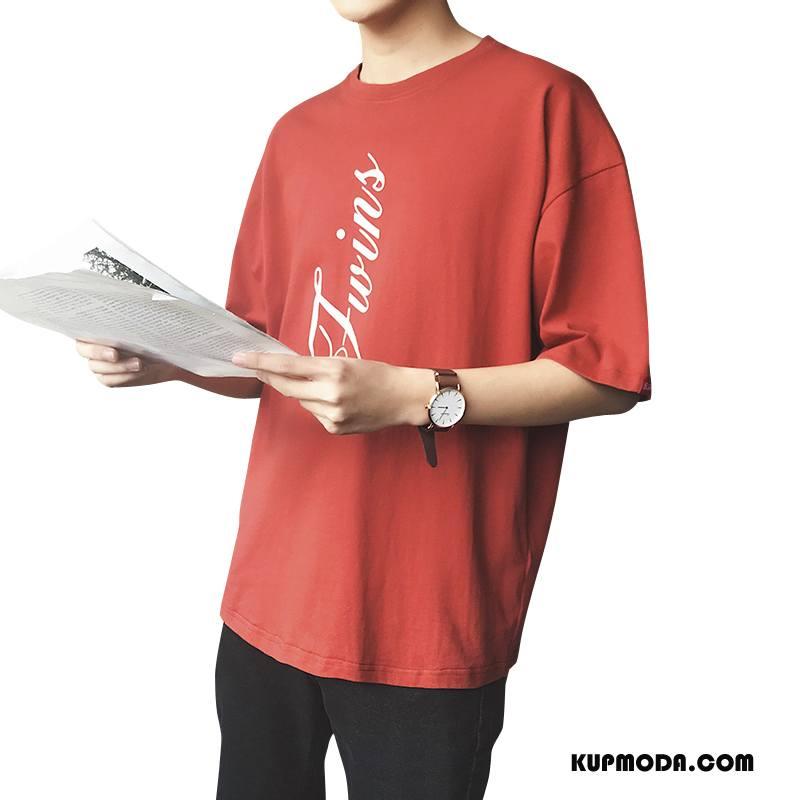 f4c8d25136f68f Koszulki Męskie Krótki Rękaw Lato Męska Okrągły Dekolt Topy T-shirt Czerwony  Dyskont