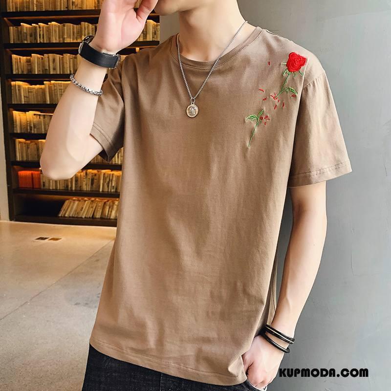 Koszulki Męskie Krótki Rękaw Tendencja Modna Marka Lato Męska Topy Kawowy