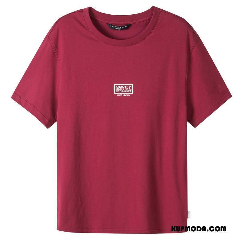 Koszulki Męskie Krótki Rękaw Topy Szerokie Nowy Męska Lato Czerwony