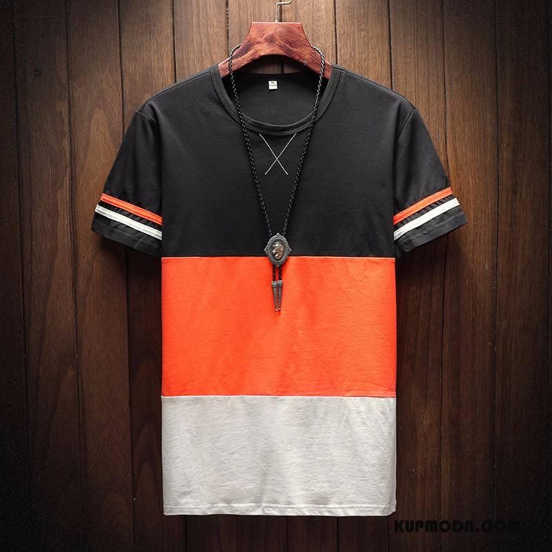 Koszulki Męskie Krótki Rękaw Topy T-shirt Lato Tendencja Męska Pomarańczowy