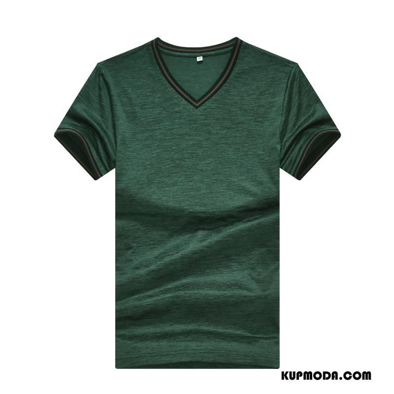 Koszulki Męskie Krótki Rękaw W Średnim Wieku Męska Lato Cienkie Biznes Ciemnozielony Czysta