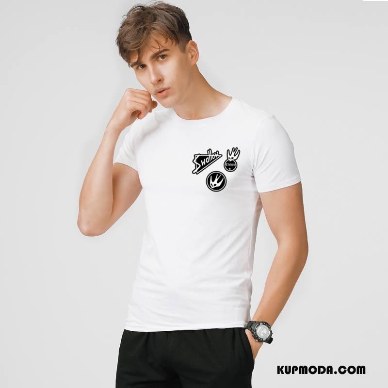 Koszulki Męskie Lato Moda Krótki Rękaw Rękawy Nowy Męska Biały