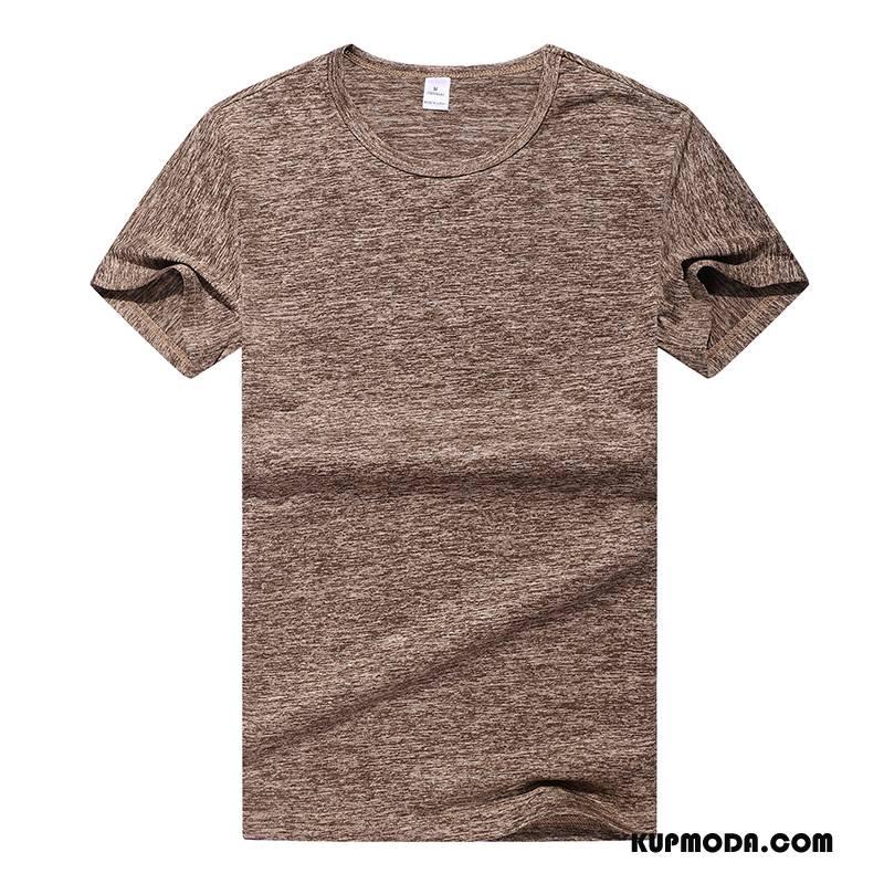 Koszulki Męskie Męska Pasować Lato Fitness Sportowe 2018 Brązowy