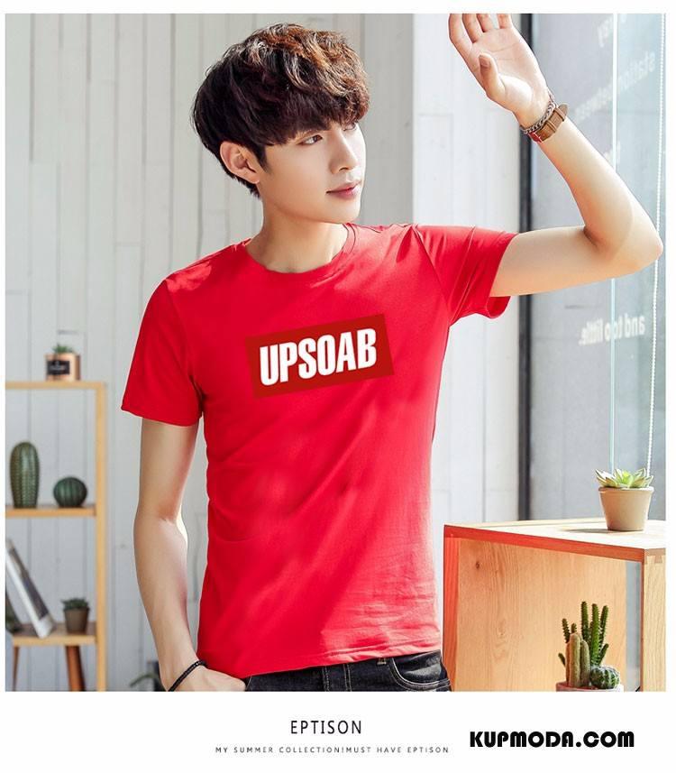Koszulki Męskie Moda Lato Męska Krótki Rękaw Nowy Rękawy Różowy