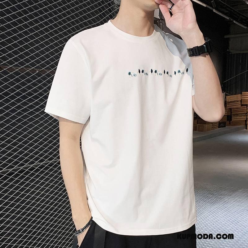 Koszulki Męskie Nowy Krótki Rękaw Okrągły Dekolt Legginsy Tendencja T-shirt Biały