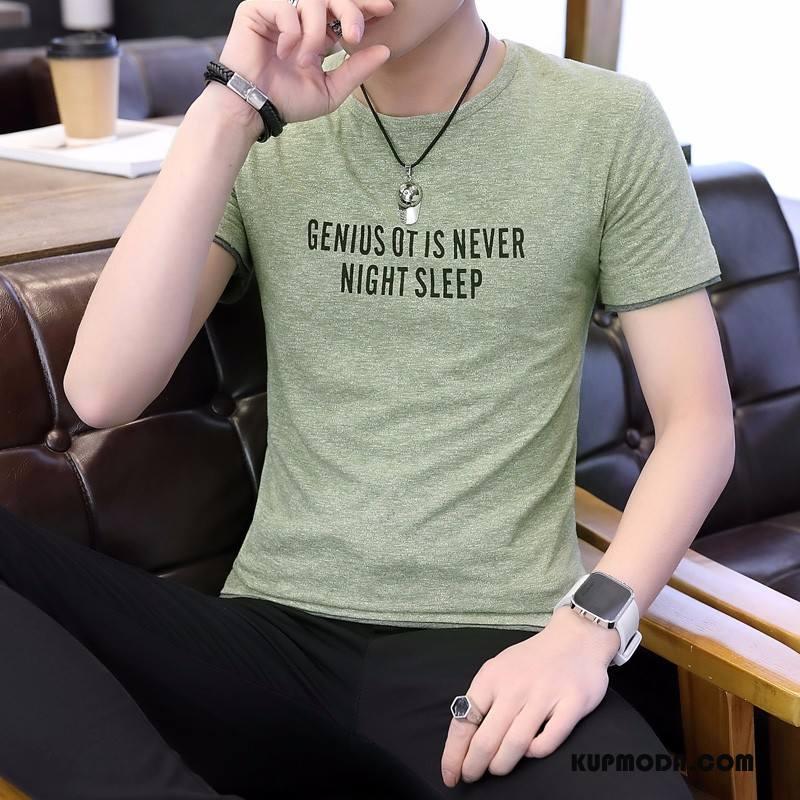 Koszulki Męskie Nowy Krótki Rękaw T-shirt Okrągły Dekolt Topy Moda Zielony