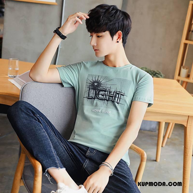 Koszulki Męskie Oddychające Krótkie Nowy Osobowość Bawełna Casual Zielony