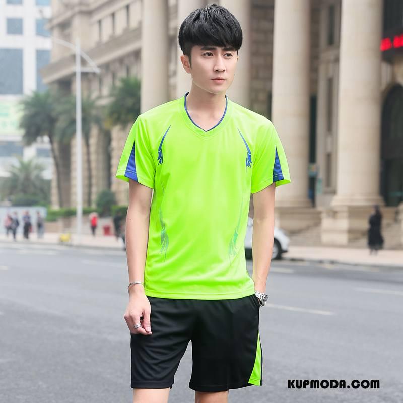 Koszulki Męskie Oddychające Wiosna Pasować Moda Fitness Popularny Zielony