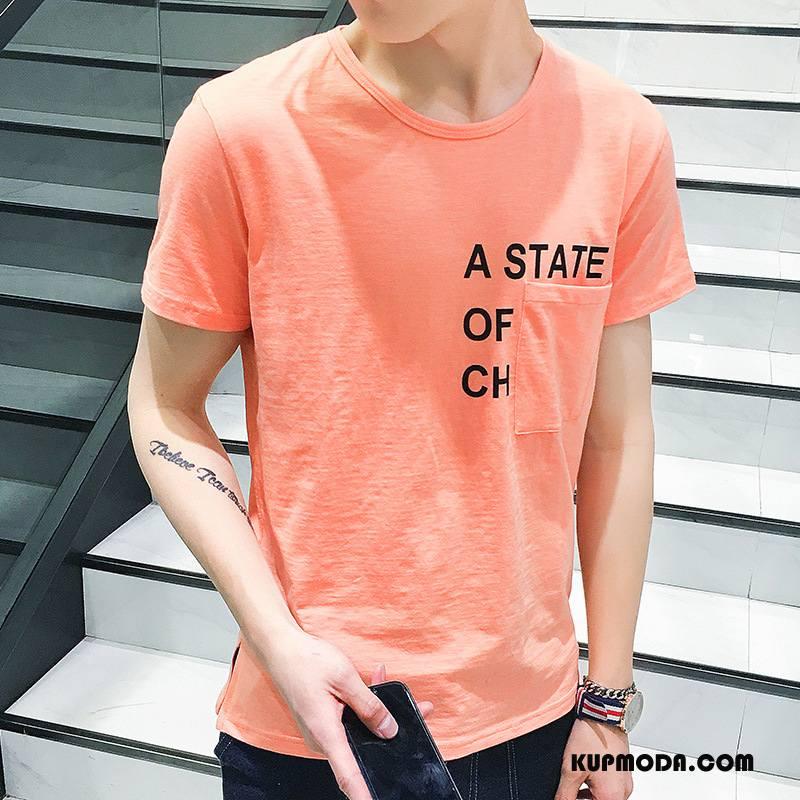 Koszulki Męskie Slim Fit Okrągły Dekolt Krótki Rękaw Lato Bawełna Cienkie Proszek