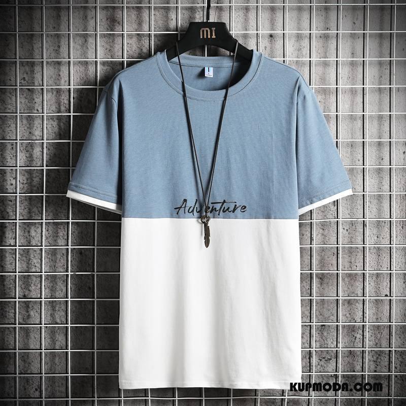 Koszulki Męskie Szerokie Bawełna Okrągły Dekolt Krótki Rękaw Męska Szycie Niebieski