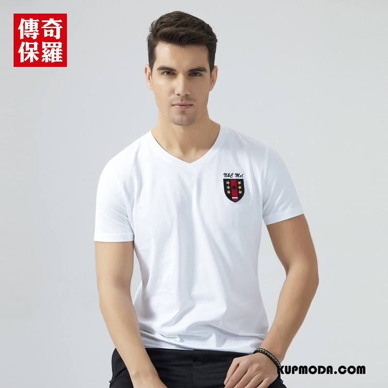 Koszulki Męskie T-shirt Lato Bawełna Męska Nowy 2018 Czysta Biały