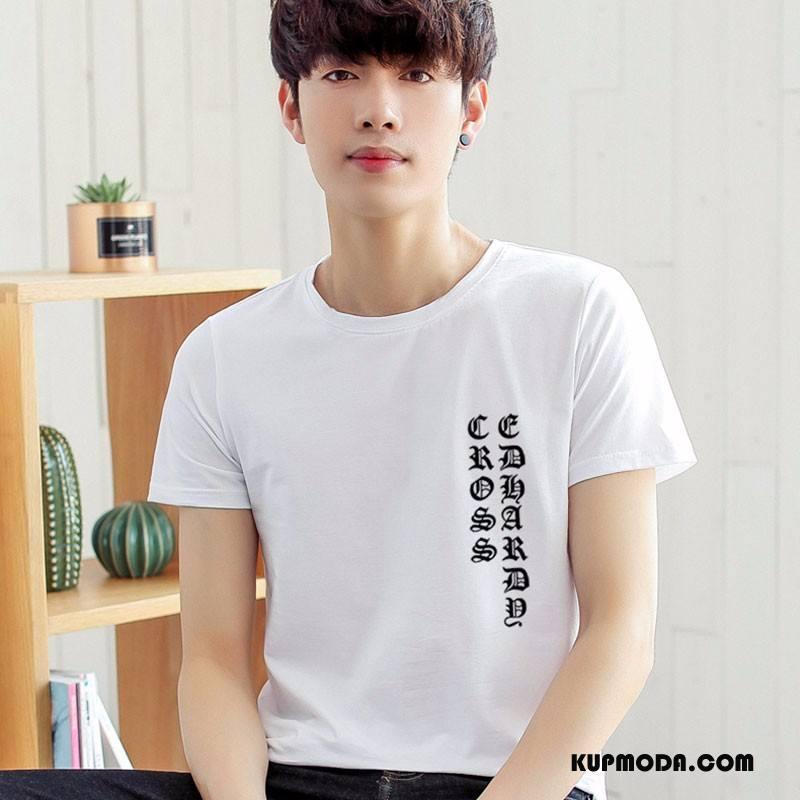 Koszulki Męskie Tendencja Rękawy Męska Wiosna Krótki Rękaw Nowy Biały