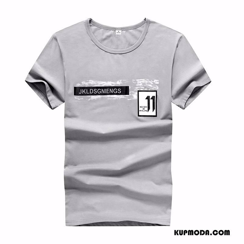 Koszulki Męskie Tendencja Slim Fit Męska T-shirt Nastolatek 2018 Szary