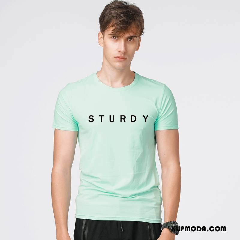 Koszulki Męskie Wiosna Tendencja Lato Krótki Rękaw Moda Rękawy Jasny Zielony