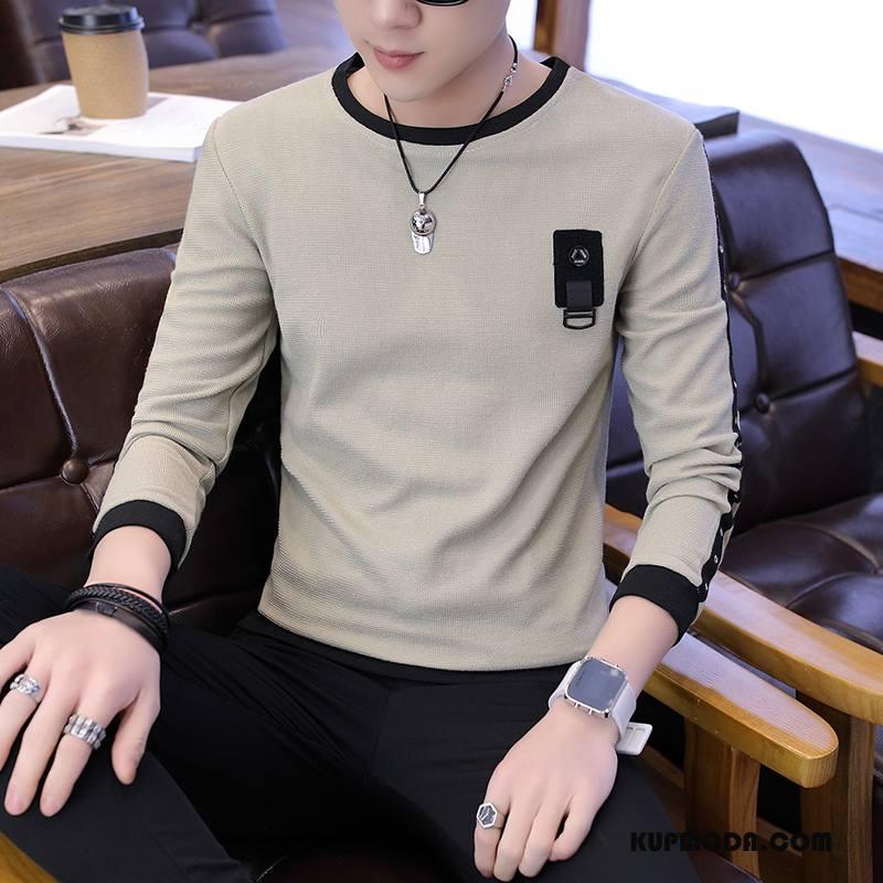 Koszulki Męskie Wygodne Bluzy Z Kapturem Moda Jesień Nowy Elastyczne Khaki