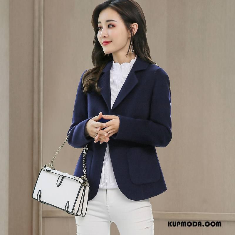 Krótka Kurtka Damskie Tendencja Moda Eleganckie Płaszcz Cienkie Slim Fit Granatowy