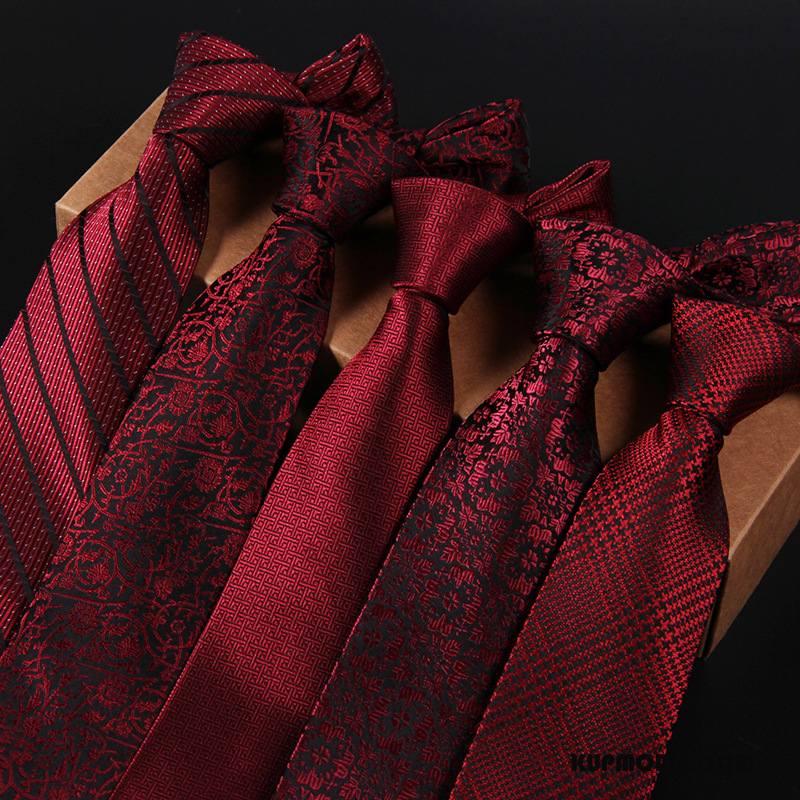 Krawat Męskie Casual Męska Moda Wąskie Ślubna Biznes Czerwony
