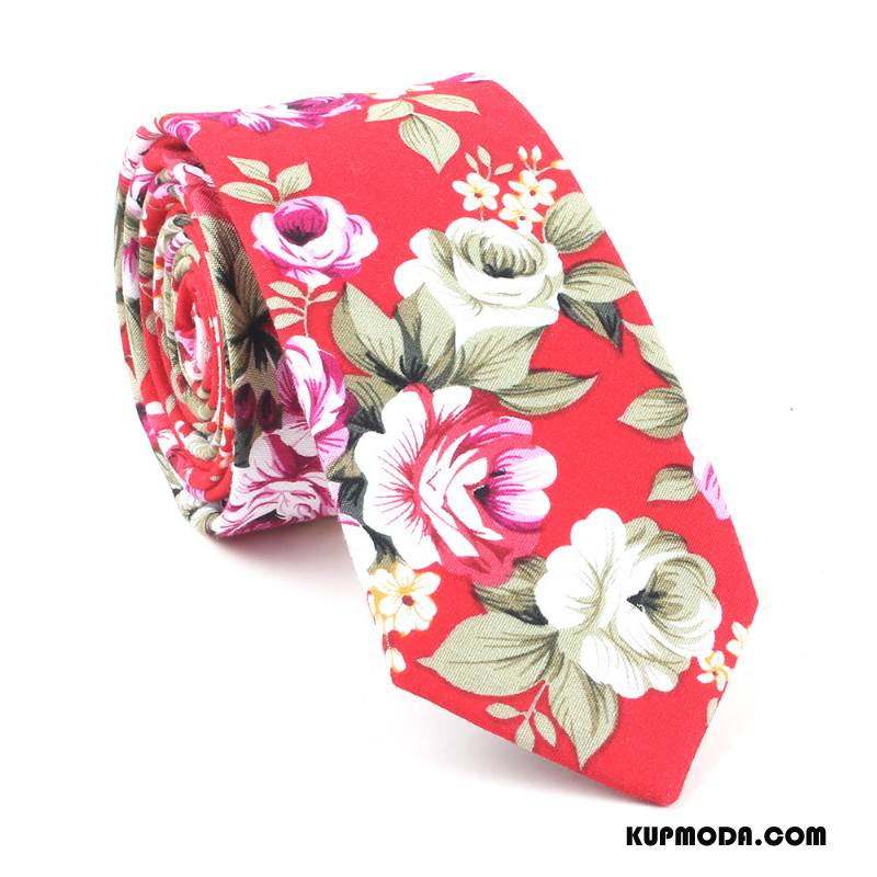 Krawat Męskie Casual Wąskie Z Bawełny Moda Męska Drukowanie Czerwony