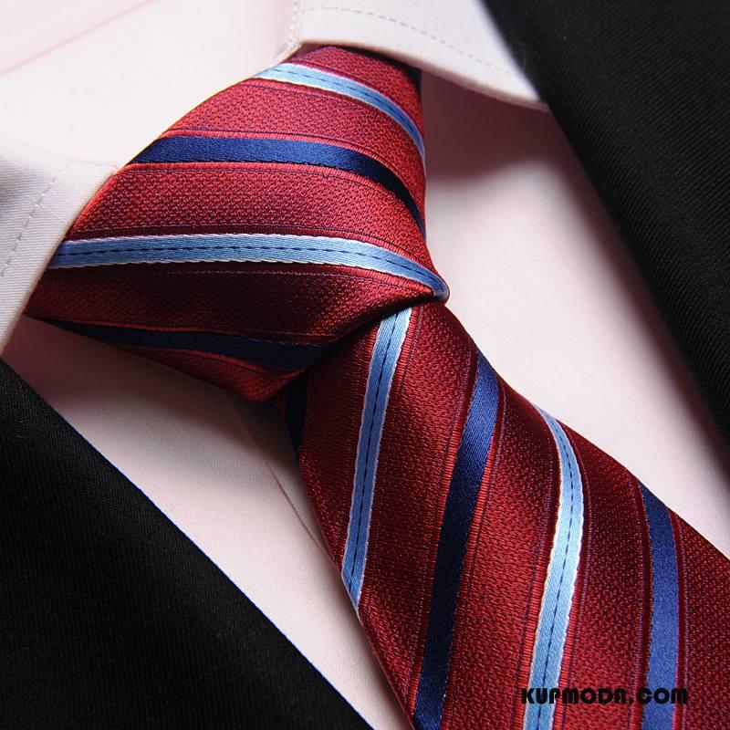 Krawat Męskie Jednolity Kolor Jedwab Biznes Oryginalne Ślubna Ukośne Paski Czerwony