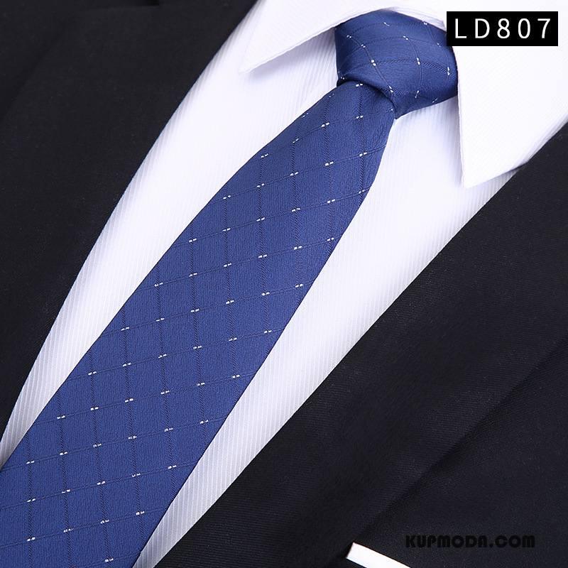 Krawat Męskie Męska Moda Trendy Wąskie Młodzież Niebieski Ciemno