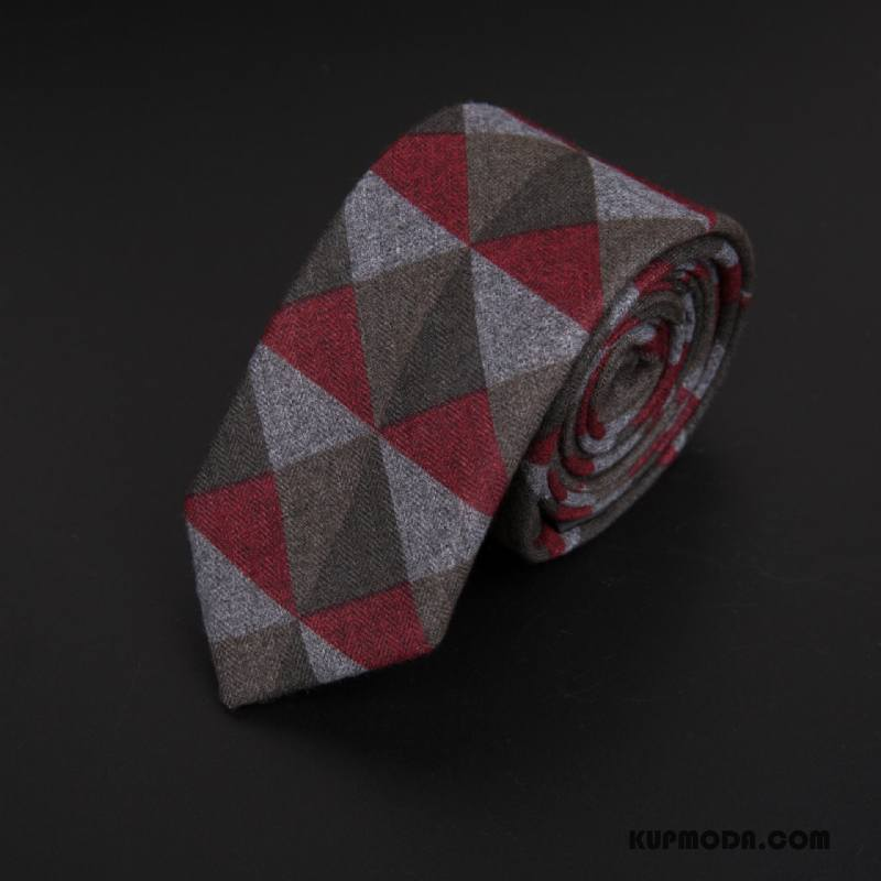Krawat Męskie Specjalne 6 Cm Casual Wąskie Damska Kaszmir Czerwony