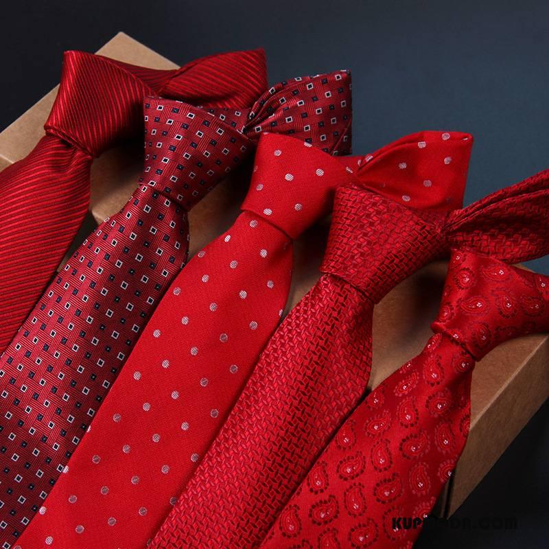Krawat Męskie Sukienka Casual Ślubna Święto Z Pracy Męska Czysta Czerwony